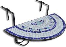 vidaXL Table suspendue de balcon Bleu et blanc