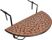 vidaXL Table suspendue de balcon Terre cuite