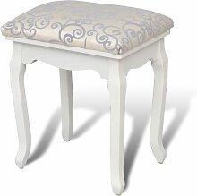 Vidaxl - Tabouret de Coiffeuse Tissu Blanc Chaud