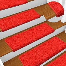 vidaXL Tapis d'escalier 15 pcs 65x25 cm Rouge