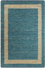 vidaXL Tapis fait à la main Jute Bleu 160x230 cm