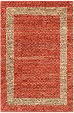 vidaXL Tapis fait à la main Jute Rouge 120x180 cm