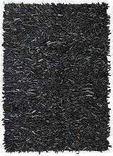 vidaXL Tapis shaggy Cuir véritable 120 x 170 cm