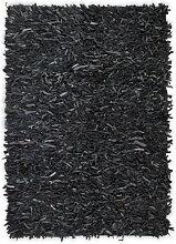 vidaXL Tapis shaggy Cuir véritable 160 x 230 cm
