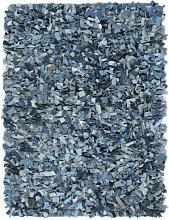 vidaXL Tapis Shaggy Denim 120x170 cm Bleu