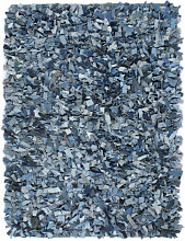 vidaXL Tapis Shaggy Denim 80x160 cm Bleu
