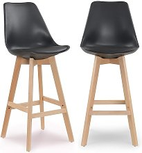VIKY - Lot de 2 tabourets de bar scandinaves noirs
