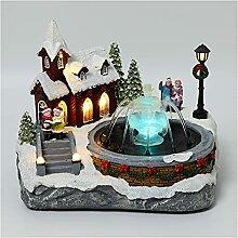 Village de noël décoration fontaine maison de
