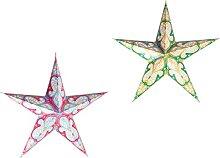 VILLCASE 2Pcs Étoile de Papier Lanterne Abat-
