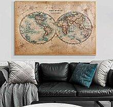 Vintage carte du monde toile affiches et