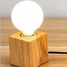 Vintage Lampe de Table Support Douille E27 en Bois