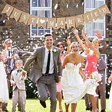Vintage lin juste marié guirlande bannière toile