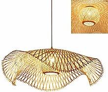 Vintage Lustre Tissé Pendentif Lampe En Bambou