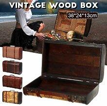 Vintage métal bois boîte de rangement avec