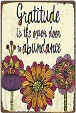 Vintage Métal Signs-Gratitude Is The Open Door To