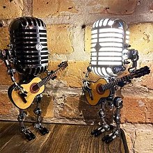 Vintage Microphone Robot Touch Dimmer Lamp Table