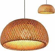 Vintage tissé pendentif lampe en bambou naturel