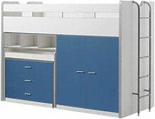 Vipack bonny lit mezzanine 90 x 200 cm bleu