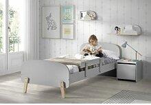 Vipack Chambre pour enfant grise en bois lit +