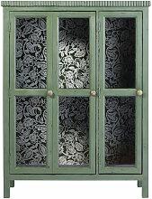 Vitrine 2 portes en acacia massif vert et verre