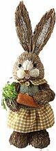 VKTY Lapin de Pâques debout en paille pour