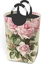 VLKFK 50L Panier À Linge Vintage Shabby Rose Rose