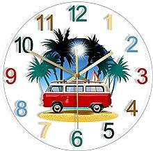 Voiture Imprimé Silencieux Horloge Rétro Camper