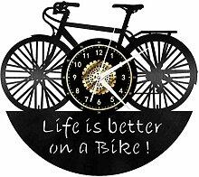 Voiture thème vélo Disque Vinyle Horloge Murale