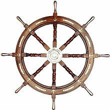 Volant de bateau en bois nautique 91,4 cm - Ancre
