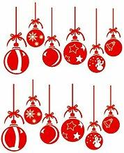 VOSAREA 2pcs noël Suspendus Boule Stickers muraux
