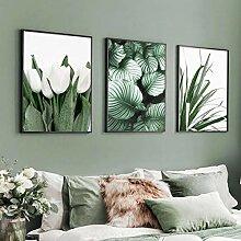 VUSMH Tulipe Toile Peinture botanique Wall Art