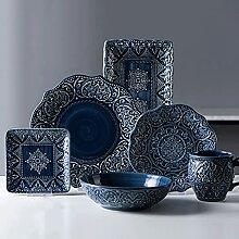 WACLT Rétro céramique vaisselle plats plates de