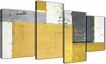 Wallfillers Lot de 4 grandes toiles jaune moutarde