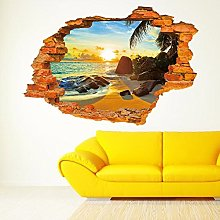 Wallpark 3D Cassé Mur Tropical Plage Coucher de