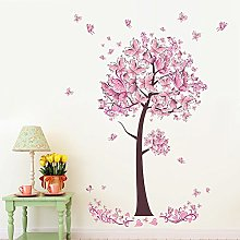 Wallpark Beau Rose Papillon Fleur Arbre Amovible