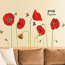Wallpark Beau Rouge Coquelicot Fleurs avec
