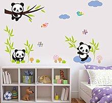 wallpark Cartoon Adorable Pandas manger en bambou