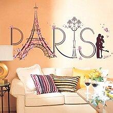 Wallpark Créatif Rose Fleur Papillon Paris Tour