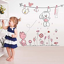 Wallpark Dessin animé Mignon Blanc Lapin Rose