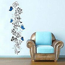 Wallpark Élégant Romantique Bleu Papillon Fleur