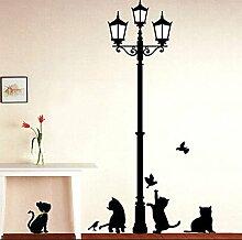 Wallpark Mignon Chat Jouer avec Oiseaux sous Noir