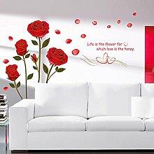 Wallpark Romantique Beau Rouge Rose Fleur Amovible