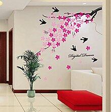 Wallpark Romantique Rose Cerise Fleurs Hirondelles