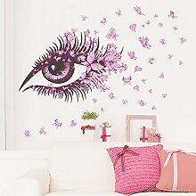 Wallpark Romantique Rose Papillon Yeux Amovible