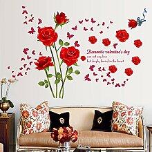 Wallpark Romantique Rouge Rose Fleurs Papillon