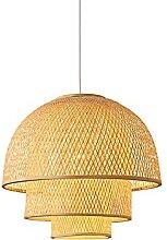 wangch Lampe à Suspension en Bambou, Abat-Jour en