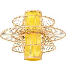 wangch Lampe Suspension Lanterne en Bambou