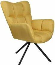 Warren - fauteuil pivotant tissu jaune et pieds