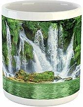 Waterfall Mug, Moss Greenery Reflection on River