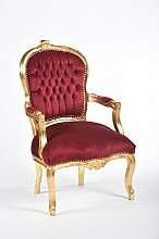 Way Home Store Fauteuil baroque Louis or et tissu